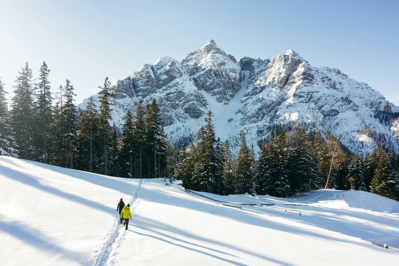 Snowshoe Hiking towards Serles in Stubaital